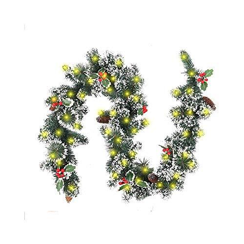 Surwin Guirnalda de Navidad Decoración con luz, 2m Plata Guirnalda De Pino Artificial Flor De Navidad con Luz para Chimeneas Árbol Jardín Corona con Luz Colgante Adornos (Ratán + Blanco cálido)