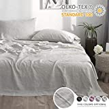 Simple&Opulence 100% Linen Sheet Set with Embroidery Stone Washed - King Size - 4 Pieces (1 Flat Sheet & 1 Fitted Sheet & 2 Pillowcases) Natural Flax Soft Bedding Breathable Farmhouse - Pink