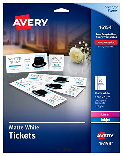 Avery Tickets with Tear-Away Stubs, 1.75' x 5.5', Matte White, Pack of 200 (16154)