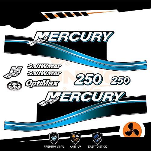 Generico Mercury - Kit de adhesivos para motor marino fuera del borde, 250 CV – Versión Saltwater azul