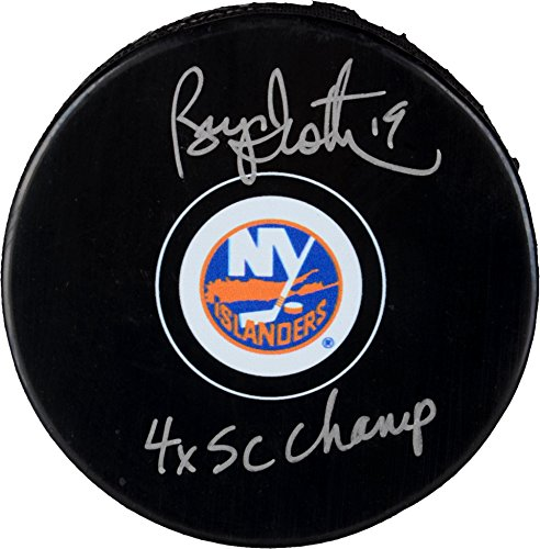 "Bryan Trottier New York Islanders Autographed Hockey Puck with""4x SC Champ"" Inscription - Autographed NHL Pucks"