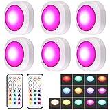 Luces Armario Justech 6PCs LED Luces de Armario de 13 RGB Colores con Control Remoto y Manual 3 Modos de Luz 10 Niveles de Brillo Luces Inalámbricas a Pilas con Función de Memoria y Temporizador