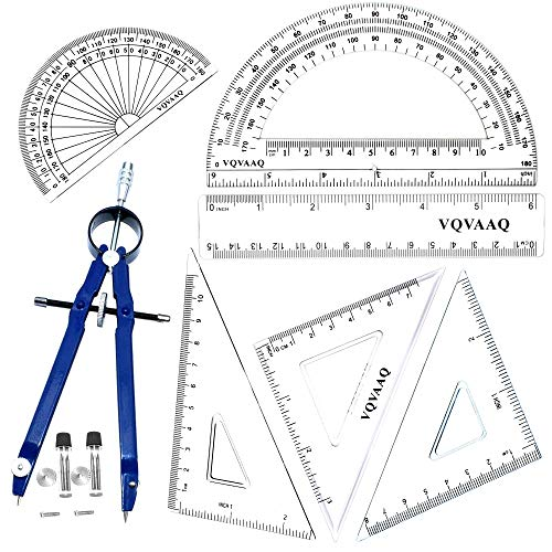 Geometry School Set,with Quality Compass, Drawing Compass,Protractor, Set Squares,7 pcs-Blue