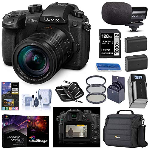 Panasonic LUMIX GH5 4K Mirrorless Digital Camera with Leica 12-60mm F/2.8-4.0 Lens, (DC-GH5LK), Bundle with V-Log L Upgrade Kit, Mic, 2 Battery, Filter, PC Software, 128GB SD Card + Accessories