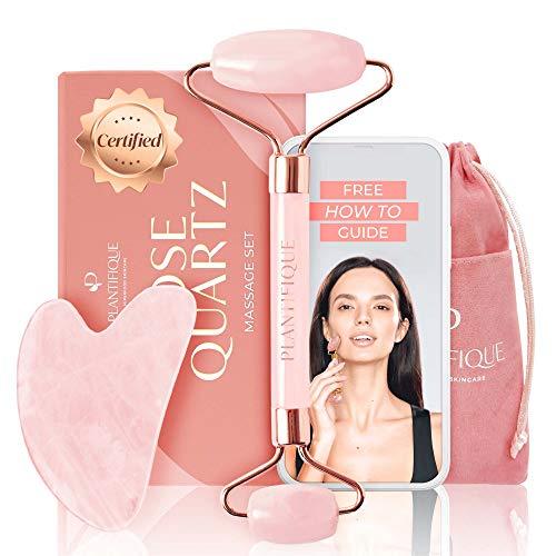 Rodillo Facial de Cuarzo Rosa Certificado e 100{e1151d9d3c784732f7aebc477efde5cf4b519c93d54d4fa999e718d6dc70269e} Auténtico - Kit de belleza antiarrugas para tonificar y reafirmar la piel - Herramienta facial natural Gua Sha - Masajeador Facial para rostro e Ojos