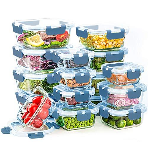 Glas-Frischhaltedosen mit Deckel, 16 Stück Frischhaltedosen-Set, Glas-Lunch-Boxen, auslaufsicher