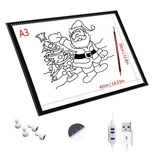 SMLJJDZ Almohadilla De Luz LED A1 / A2 / A3 / A4,Brillo Ajustable De La Mesa De Luz,Mesa De Dibujo Lightbox con Cable USB para Pintar con Diamantes, Diseñar, Dibujar Bocetos,A3