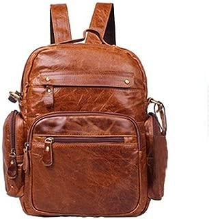 Vintage Leather Mens Trendy Backpack Handbag Brown Backpack with Zipper Pockets. XFGBTJKYAUu (Color : Brown, Size : S)