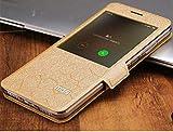 Flip Cover Mobile Original Case mofi s-View for xiaomi redmi Note 4 and 4X pro Book Phone Cases, Cover flip Slim Wallet case … (Gold, Xiaomi Note 4X)
