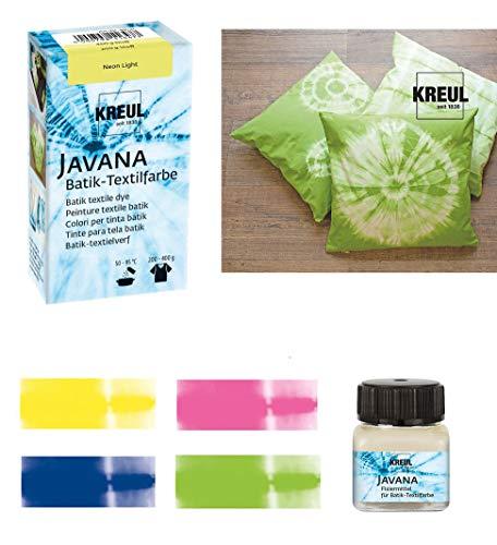 Javana Batikfarben Set 4 Plus 1 Pastell 4 Batik Textilfarben + Fixiermittel für Batik
