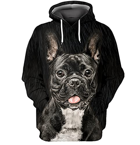 Frenchie 3D Printed Hoodie With Hooded With Kangaroo Pocket For Men Women Adults (Large) Black