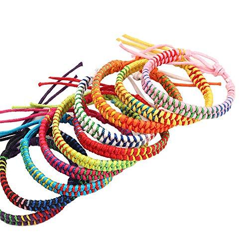 DLH Friendship Bracelets, 10pcs Handmade Woven Bracelets Ankle Bracelets for Women DTY Colorful Braid Cords Strand Bracelet Jewelry Making Set Adjustable for Wrist Ankle