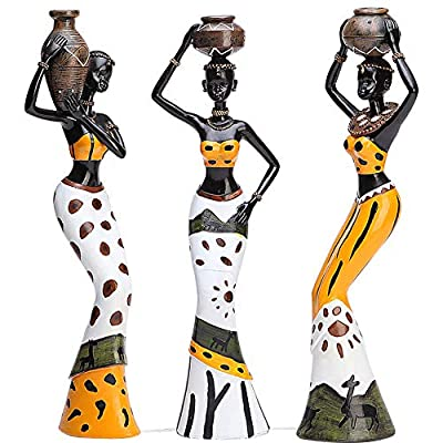 """Mary Paxton 3 Pack African Sculpture,7.5"""" Women Figure Girls Tribal Lady Figurine Statue Decor Collectible Art Piece Human Decorative Home Black Figurines Creative Vintage Gift Crafts Dolls Ornaments"""
