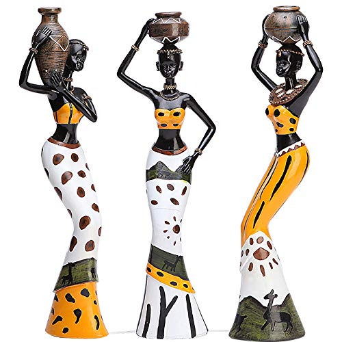 "Mary Paxton 3 Pack African Sculpture,7.5"" Women Figure Girls Tribal Lady Figurine Statue Decor"