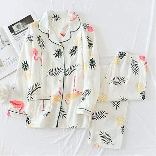 XFLOWR Artículos para el hogar Mujeres Gasa de algodón Ropa de alimentación Embarazada Manga Larga Flamingo Mujeres Pijama Ropa para el hogar Pijamas Ropa de Lactancia Materna L Blanco