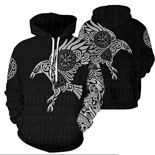 QZY Vintage Odin 3D Hoodie, Unisex Asgard Streetwear Cool Bedruckte Hoodies Personalisierte Sweatshirt Mit Großen Taschen Paare Kleid, High Definition Grafikdruck,Eagle,L