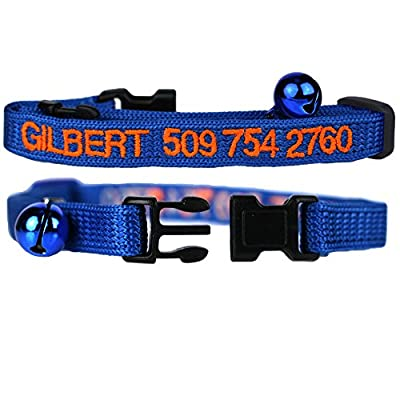 blue personalized cat collar with bell made by GoTags