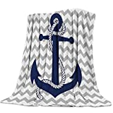 Flannel Fleece Luxury Lightweight Cozy Couch/Bed Super Soft Warm Plush Microfiber Throw Blanket,Nautical Navy Anchor with Gray and White Chevron (50 x 60 Inches)