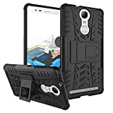 Qlez Heavy Duty Drop Test Pass Dual Layer Hard Rugged Bumper Back Media View Kickstand Cover for Lenovo Vibe K5 Note - Black