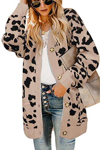 Ashuai Womens Leopard Long Cardigans Sweater Oversized Chunky Button Down Open Front Loose Knitted Jumper with Pockets