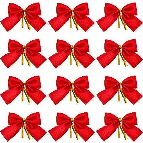 WILLBOND 96 Paquetes Decoraciones de Lazo de Navidad de Mini Terciopelo Rojo para Árbol de Navidad, 3.15 Pulgadas Adorno de Árbol de Navidad Decoración de Bricolaje de Regalos de Fiesta