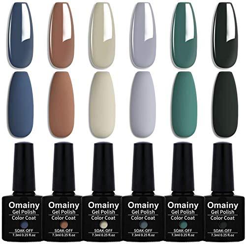 coat gels for nail arts Gel Nail Polish Set Blue Grey Milk Green 6 Color With Matte Top Coat Soak Off Gel Nail Polish Kit UV Led Nail Art Manicure Salon Collection By Omainy (MLD002)