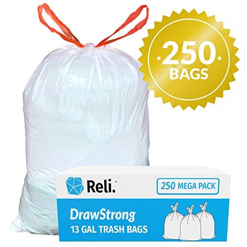Reli. Tall Kitchen Trash Bags 13 Gallon Drawstring (250 Count) Kitchen Tall Drawstring Garbage Bags 13 Gallon - 16 Gallon Capacity - White Tall Kitchen Garbage Bags 13 Gal, Quick Tie Drawstrings