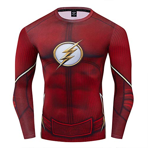 COJETER Super Heroes T-Shirts for Men Dunkelroter Pullover Langarmkompression Professionelle Sport Fitness Erwachsene T-Shirts