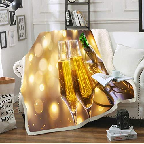 RKZM Champagne Printed Throw Blanket Soft Sherpa Fleece Blanket Bed Sofa Bedspreads Winter Sheet Outside Nap Blanket Wine Series 150 * 200cm