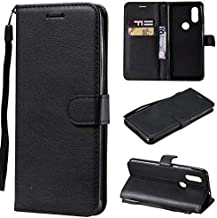 Cover Case Phone Cases Case For Motorola Moto P40 Wallet Solid Color Premium Quality PU Leather Flip Stand Case With Wrist Strap & Card Slots (Color : Black),Colour:Purple حالة الغطاء