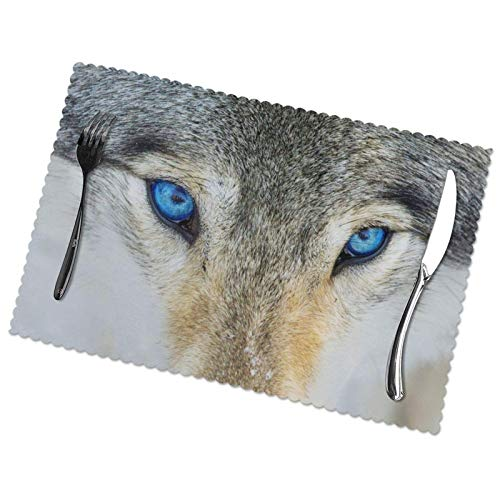 Blue Eyes Wolf Printing Placemats Set of 6, Easy to Clean Polyester Material Resistant to High Temperature12X18in