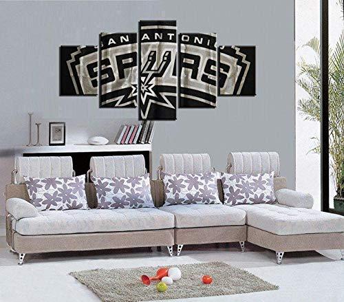 wangdazhuang 5 Paneles Cuadros Modernos Baratos Cuadro Salon Baloncesto NBA San Antonio Spurs Cuadro En Lienzo Decoración del Hogar Enmarcada Art-150X80Cm