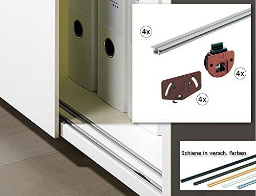 Hettich Slideline Schiebetürbeschlag Set - Schrankbreite bis 150 cm - für 2 Türen - Schienenfarbe WEISS
