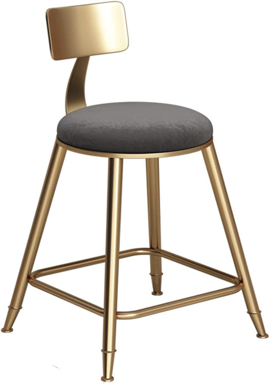 Retro bar Chair high Stool backrest Grey Sponge pad Lounge Chair Bearing 150 kg Metal Legs (Size   43x43x45cm)
