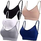 BQTQ 5 Piezas Sujetador de Camisola con Tirantes Bralette Sin Aros para Mujer, 5 Colores (Negro, Blanco, Gris, Beige, Azul Marino, L)