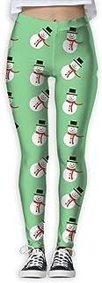 XMKWI Happy Christmas Snowman Women Power Flex Activewear Yoga Pants Workout Tights Leggings Trouser
