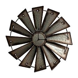 Gianna's Home Rustic Farmhouse Metal Windmill Wall Clock (18.5)