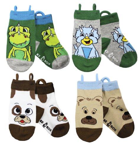 Ez Sox Jungen und Mädchen Kleinkind Socken, (3-5 Jahre, Dino/Dog/Bear)