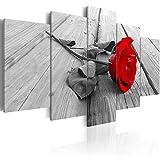 murando – Quadro Fiori Rosa 100x50 cm - 5 Parti - Quadro su Tela fliselina – Stampa in qualita Fotografica - Amore Romantico Grigio Rosso b-B-0025-b-m