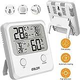 Digitales Thermo-Hygrometer ESHOWEE Thermometer Hygrometer Innen Hohen Genauigkeit Thermometer Hygrometer Mit Magnet Komfortanzeigen MIN/MAX Records °C/°F-Schalter, Trend, für Babyraum Wohnzimmer Büro