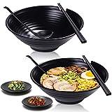 Unbreakable Japanese Style Ramen Bowl Set of 2, Vivimee 37oz Black Large Ramen Bowls and Spoons Set...