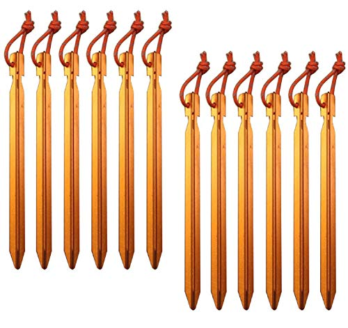 Pack of 12, 7075 Aluminum Outdoors Tent Stakes Pegs