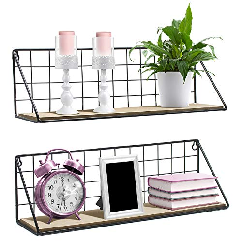 Sorbus Floating Shelves Wall Mounted Rustic Wood Storage Set for Picture Frames, Collectibles, Decorative Items, Great for Living Room, Office, Bedroom, Bathroom, Kitchen, etc (2-Pack, Natural)