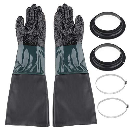60cm Arbeitschutz Handschuhe Sandstrahlhandschuh Teichpflegehandschuh Set, inkl, Handschuhhalter + Klemme + Handschuhe