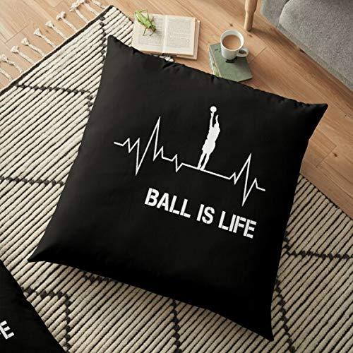 Fr75en Fundas de cojín de baloncesto Is Life Heartbeat, 45 cm x 45 cm, fundas de cojín de Navidad, 45 x 45 cm, funda de almohada de terciopelo, para sofá, cama, sala de estar