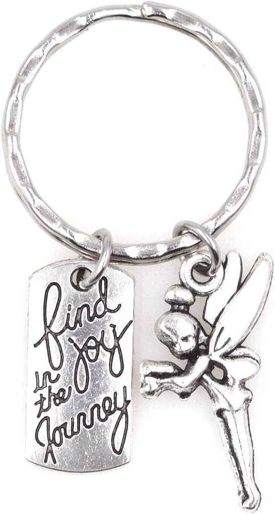 Find Joy in the Journey Graduate Retirement Moving Promotion Teacher Director Coach Inspirational Quote Going Away Parting Congrats Accomplishment Gift Pixie Fairy Peter Pan Tinkerbell Keychain 113E