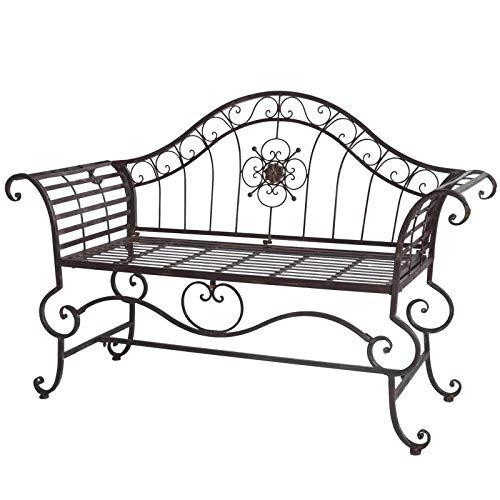 L'Héritier Du Temps Banc Style Dagobert Banquette Fauteuil Mobilier de Jardin Assise Exterieur 3 Places en Fer Marron 57x93x144cm