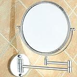 QAZW Espejo De Maquillaje De Pared con Aumento De 3X, Espejo De Tocador Extensible De Doble Cara con Rotación 360, Espejo De Baño Redondo,Silver