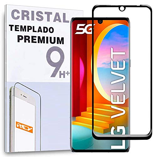 Protector de Pantalla Curvo para LG VELVET 5G, Negro, Cristal Vidrio Templado...
