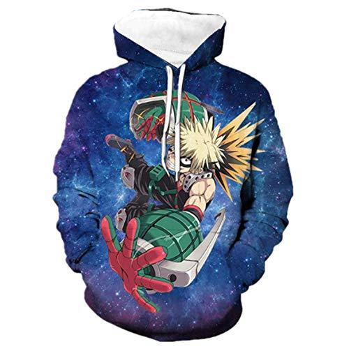 Moletom com capuz 3D Boku No Hero Academia My Hero Academia Izuku Midoriya Cosplay jaqueta adulto unissex, 3star, XS